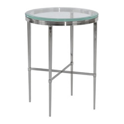 EuroLux Home - New Drinks Table Glass Nickel Beveled Round - Product Details