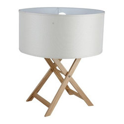 ParrotUncle - White Fabric Drum Shade Wood Foldable Table Lamp - White Fabric Drum Shade Wood Foldable Table Lamp