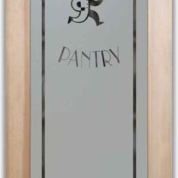 """Pantry Door - Chop Chop Chef - PANTRY DOORS TO SUIT YOUR STYLE!  Glass Pantry Doors you customize, from wood type to glass design!   Shipping is just $99 to most states, $159 to some East coast regions, custom packed and fully insured with a 1-4 day transit time.  Available any size, as pantry door glass insert only or pre-installed in a door frame, with 8 wood types available.  ETA for pantry doors will vary from 3-8 weeks depending on glass & door type.........Block the view, but brighten the look with a beautiful obscure, decorative glass pantry door by Sans Soucie!   Select from dozens of frosted glass designs, borders and letter styles!   Sans Soucie creates their pantry door obscure glass designs thru sandblasting the glass in different ways which create not only different effects, but different levels in price.  Choose from the highest quality and largest selection of frosted glass pantry doors available anywhere!   The """"same design, done different"""" - with no limit to design, there's something for every decor, regardless of style.  Inside our fun, easy to use online Glass and Door Designer at sanssoucie.com, you'll get instant pricing on everything as YOU customize your door and the glass, just the way YOU want it, to compliment and coordinate with your decor.  When you're all finished designing, you can place your order right there online!  Glass and doors ship worldwide, custom packed in-house, fully insured via UPS Freight.   Glass is sandblast frosted or etched and pantry door designs are available in 3 effects:   Solid frost, 2D surface etched or 3D carved. Visit or site to learn more!"""