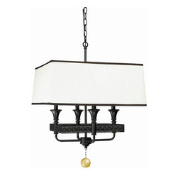 World Imports - Manhattan 4 Light Pendant in Oil Rubbed Bronz - Manufacturer SKU: WI233447. Bulbs not included. Ivory round and square shades trimmed in Brown. Hand-blown accents. . Manhattan Collection. 4 Lights. Power: 60W. Type of bulb: Candelabra. Oil Rubbed Bronze finish. 10 ft. Chain & 12 ft. Wire. Canopy 5 in. D. 20 in. W x 20 in. D x 23.25 in. H (7.2 lbs.)