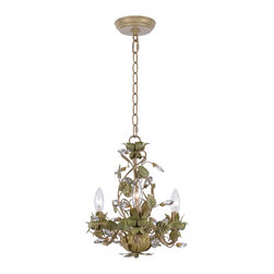 "Crystorama - Josie Mini Chandelier - Mini chandelier with clear crystal accents and wrought iron handpainted in Champagne Green Tea finish. Takes 3 - 60 w/c bulbs. Chain: 72"" Wire: 120"""
