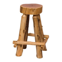 "Fireside Lodge - Traditional Cedar Log Slab Barstool with Outside Footrests (Set of 2) - Made from hand - peeled Northern White Cedar logs. Hand peeling leaves the natural character and beauty of the log intact and gives a more rustic appearance. Features: -White cedar construction. -Slab barstool with outside footrests. -Traditional Cedar Log collection. -Clear coat catalyzed lacquer finish for lasting durability. -Individually hand crafted. -Fireside Lodge provides two year limited warranty. Dimensions: -24"" - 30"" H x 18"" W x 18"" D, 20 lbs."
