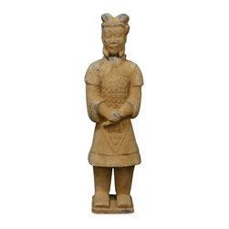 China Furniture and Arts - Standing Terracotta Soldier - A reproduction of the terracotta soldier unearthed from the tomb of China's first emperor, Emperor Qin Shi Huang 2,000 years ago, this statue is completely handcrafted by sculptors in northern China.