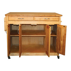 Catskill Craftsmen - Butcher Block Work Center Plus - Larger drawer. Adjustable interior shelf. Spice rack. Towel bar. Locking caster wheels. Nickel plated hardware. Warp resistant side and back panels. Made from solid hardwood. Oiled finish. Made in USA. Drawer: 34 in. L x 16.25 in. W x 2.5 in. H. Table top: 42 in. L x 30 in. W. Overall: 44.375 in. L x 30 in. W x 34.5 in. H. Care Instructions. Assembly Instructions