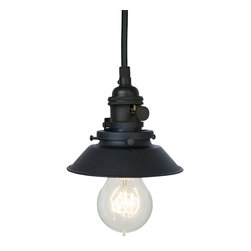 "Hammers & Heels - Farmhouse 4 & 3/4"" Cone Shade Pendant Light- Matte Black - The Farmhouse Collection is petite with a punch of style these metal cone shade pendant lights add a vintage feel to any space."