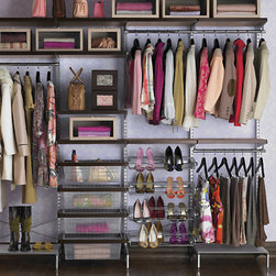 Walnut and Platinum Elfa Decor Freestanding Closet - These systems really maximize closet storage space for any size closet. I would love to be this organized myself!