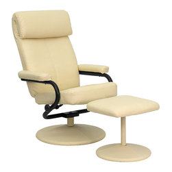 Flash Furniture - Contemporary Cream Leather Recliner and Ottoman with Leather Wrapped Base - Recline in your favorite position with this comfortable recliner and ottoman set. This set features a built-in pillow top headrest, thickly padded arms and leather wrapped bases. This set is not only perfect in the home, but makes for a great addition in the office when you need to relax for a bit. The durable leather upholstery allows for easy cleaning and regular care.