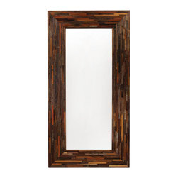 Four Hands - Berlin Mirror - Reflect your great style and love of environmentally conscious materials. The frame of this grandly scaled mirror is made by stacking small strips of sustainably harvested and reclaimed woods, which are then finished in a warm stain designed to show off the natural grains.