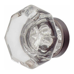 Renovators Supply - Cabinet Knobs Crystal Cabinet Knob 1'' Dia Knob Pewter Back | 19365 - Crystal Cabinet Hardware. This octagonal cabinet knob projects 7/8 in. Pewter finish backing.
