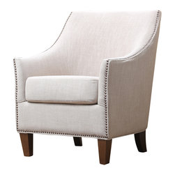 Abbyson Living - Jennifer Fabric Nailhead Trim Armchair - This functional chair highlights a natural-cream colored, linen upholstery, a hardwood frame and nail head trim detailing.  Simple forms and natural textures give an easygoing style that's perfect for any space. The curved back settles down the arms while you sink into the thick, 2.0-density foam of the seat cushion. High-quality linen fabric covers the body as the nail-head trim adds a classic touch to the contemporary shape. The frame is constructed from kiln-dried hardwood, giving it a robust structure that's designed for years of use.