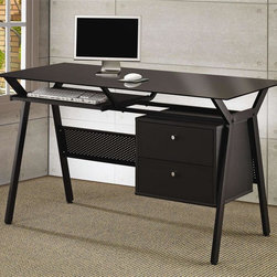 Coaster - Computer Desk w 2 Storage Drawers - Pullout keyboard shelf. Black glass top. Black powder coated metal frame. Black finish. 55 in. W x 23.5 in. D x 30.75 in. H. WarrantySimple and stylish this computer desk will make a wonderful addition in any home. Just add a comfy task chair of your choice and settle in to work away at this sleek and chic computer desk.