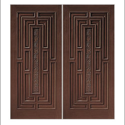 Carved and Mansion Entry Doors Model # 1411 - Our Carved and Mansion doors are hand carved by master craftsman.  They will certainly add to the wow factor of any entrance exterior or interior.  The doors are Mahogany and can be stained and finished in a variety of colors to complement your homes beauty.  You may also like our International collection which is inspired by world design.