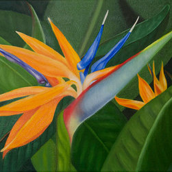 "Bird In Paradise (Original) by Jerry Sullivan - Fortunate to live in Paradise, I paint Hawaiian floral portraits and this Bird of Paradise, growing outside our home in Maui, seemed to say ""Paint me!"" With it's vivid colors, it is a favorite flower of the islands and I enjoyed immortalizing it in oil. If you can't live in Hawaii, with this painting you can still sense the passion of the islands with this beautiful oil artwork."