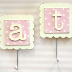 New Arrivals Inc. - Letter Wall Hooks in Pink - Set of 3 - Letter Wall Hooks in Pink - Set of 2