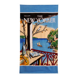 None - NY Sailboat Beach Towel - Soak up some rays with this colorful cotton beach towel from Conde Nast Beach. This multicolored towel features a past sailboat cover from The New Yorker. Made from 100 percent cotton,this towel is durable enough to throw in the wash.