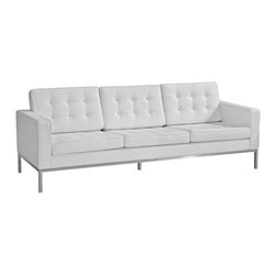 Fine Mod Imports - Button Leather Sofa, White - Features: