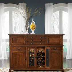 Brighton Buffet with Seeded Glass Doors and Wine Rack -