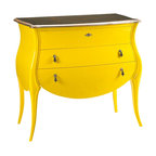 French Heritage - Jacqueline Chest - Add a burst of sunshine to your room with this playful, lacquered bombe chest. The slate top and gorgeous pulls are elegant complements to the fun color and curves of this 19th century stunner.