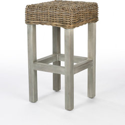 Belgian Bar Stool - The woven seats on this wooden bar stool will add texture and a natural material to your kitchen.