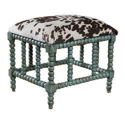 Uttermost Chahna Small Bench - Aqua blue finish on solid, plantation grown mango wood with cushioned seat in plush, dark chocolate and milky white velvet. Aqua blue finish on solid, plantation grown mango wood with cushioned seat in plush, dark chocolate and milky white velvet.