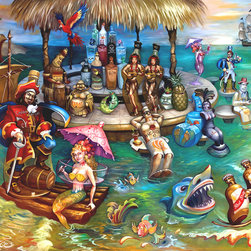 "L. Lee Junge - Paradise Punch, 50.75 X 40 - Mermaids, pirates, and rum bottles gather on the high seas in tropical debauchery and booze laden escapades.  Here we see Captain Morgan sailing alongside Bacardi, Red Stripe, and dancing limes.  Junge's use of expressive color and movement make this piece a thrilling scene that the viewer dreams of joining.  This work is part of Junge's ""Night Life"" series, where she explores the lively scenario of bar spirits coming to life in a series of fifteen striking and titillating paintings. These works unlock the door to a world of spectacle, imagination, and complex perception."