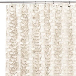 Triangle Home Fashions - Gigi Ivory 72-Inch x 72-Inch Shower Curtain - This handcrafted shower curtain has layers of silky, circular motifs to create a fantastic ruffle from top to bottom. The dimensional surface of the shower curtain will add motion and interest to your bath decor.