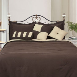 LCM Home Fashions - LCM Home Fashions Microfiber Comforter Set - C021A - Shop for Bedding Sets from Hayneedle.com! A luxurious way to dress your master or guest suite the LCM Home Fashions Microfiber Comforter Set is sumptuously soft and stylish. This set is made of lightweight plush polyester microfiber. It comes complete with a reversible comforter and coordinating bed skirt and one to two pillow shams (depending on the size you choose). This comforter set comes in your choice of sophisticated color combinations and your choice of size. All that plus it's conveniently machine-washable.
