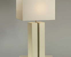 NOVA Lighting - Page Table Lamp - Turn the page. Crisp, contemporary homes, as well as a country cottage aesthetic, will appreciate the clean, simple look of this striking table lamp design. Offering an elegant, upscale feel, this design blends white leather, brushed nickel and a white linen shade for a casually elegant, monochromatic accent. 28'h.