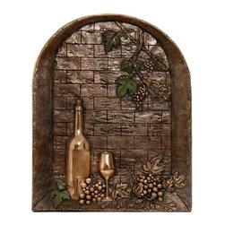 3D Metallic Backsplashes - Window with wine bottle Backsplash / Copper Finish: