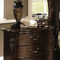 Yuan Tai - Dasan Nightstand in Dark Cherry Finish - Marble top. Three dovetailed drawers. Intricate resin carvings. Warranty: Six months limited. Made from solid hardwood and veneers. No assembly required. 30 in. W x 18 in. D x 32 in. H (77 lbs.)Yuan Tai is the premier importer or distributor of an extensive line of home furnishings, ranging from bedroom, dining and living room furniture, occasional tables, lamps and accent pieces.