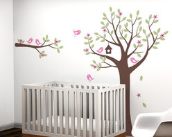 Flower Tree with Birds and Deer - Falling leaves and flowers, cute singing birds, and wandering deer.. The perfect tree decal set to complement your baby nursery.