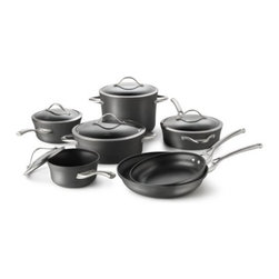 Calphalon - Calphalon Contemporary Nonstick 12-Piece Cookware Set Multicolor - 1876788 - Shop for Cookware Sets from Hayneedle.com! From cooking to cleanup the Calphalon Contemporary Nonstick 12-Piece Cookware Set delivers the best. You ll get it all with this collection including a 10-inch fry pan 12-inch fry pan 1.5-quart sauce pan with lid 2.5-quart sauce pan with lid three-quart saute pan with lid five-quart Dutch oven with lid and eight-quart stock pot with lid. Heavy-gauge hard-anodized aluminum delivers quick even heating and the triple-layer nonstick surface is PFOA-free and remarkably easy to clean - you can even pop these pans in the dishwasher. With cast stainless steel loop handles these pans are oven safe up to 450 degrees Fahrenheit and are covered by a manufacturer s lifetime warranty.About CalphalonCalphalon's mission is to be the culinary authority in kitchenwares enhancing the home chef's food experience during planning prep cooking baking and serving. Based in Toledo Ohio Calphalon is a leading manufacturer of professional quality cookware cutlery bakeware and kitchen accessories for the home chef. Calphalon is a Newell-Rubbermaid company.Calphalon's goal is to give you the home chef all the tools you need to realize your highest potential in the kitchen. From your holiday roasting pan to your everyday fry pan count on Calphalon to be your culinary partner - day in and day out for breakfast lunch and dinner for a lifetime.