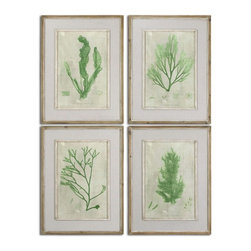 Grace Feyock - Grace Feyock Emerald Seaweed Framed Wall Art, Set of 4 X-29015 - Prints are accented by off-white linen mats then surrounded by reclaimed wooden frames finished in black with light brown wash. Inner lips and fillets are accented with white and gray paint. Prints are under glass. Set of 4