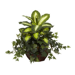 Nearly Natural - Dieffenbachia and Ivy in Decorative Planter - A bold combination of bright,variegated dieffenbachia leaves fixed among dense,lush ivy inspires a cheery pairing of color and texture that will jazz up any room in your home or office. This beautiful silk plant never needs watering.