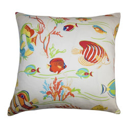 """The Pillow Collection - Niju Coastal Pillow White Red - Cozy and fun, this 18"""" pillow is a perfect accent pillow for your living space. Create a coastal theme to any room by decorating this decor pillow which features sea creatures in lively shades of green, red, yellow, orange, blue and white. This 100% cotton-made pillow is incredibly soft and cozy. Hidden zipper closure for easy cover removal.  Knife edge finish on all four sides.  Reversible pillow with the same fabric on the back side.  Spot cleaning suggested."""