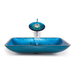 Kraus - Kraus C-GVR-204-RE-10SN  Blue Rectangular Glass Vessel Sink and Waterfall Faucet - Add a touch of elegance to your bathroom with a glass sink combo from Kraus