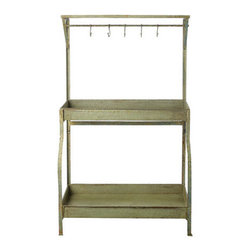 Rustic Kitchen & Garden Metal Console - Industrial and charming, this useful storage display console lends an air of timelessness to your home or outdoor space. Constructed of sturdy metal with a distressed finish, below its top shelf it offers five hooks for you to hang napkins or hand towels. Perfect for entertaining or everyday use, there's loads of storage space for your kitchen or gardening needs, with room to spare for displaying fresh-cut flowers and so much more.