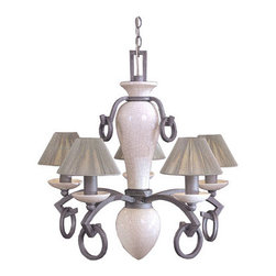 Minka-Lavery - Tiamo Chandelier - This splendid piece features delicate sewn string shades combined with a textured Imperial Silver and a crackled ceramic finish. Minka-Lavery - 565-64