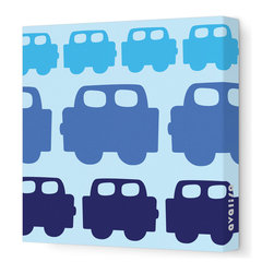 "Avalisa - Things That Go - Car Stretched Wall Art, 12"" x 12"", Blue - Add a pop of color to your interiors with this playful work of art. Each piece is printed on fabric and applied to stretchers for a straight-from-the-gallery look. Perfect for a child's room, either individually or displayed in a group for a maximum impact."