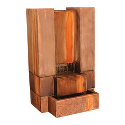 Guillotine Outdoor Fountain, Dark Ancient - The Guillotine gives a step tier look to create a one of a piece in this present day. The water flow is runs in the center to make an exceptional noise for all to enjoy. The same look appears on both sides.