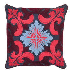 Venice Navy/Burgandy Pillow - Rich, royal colors and a french style pattern make this embroidered pillow a luxurious addition to any room! Pair with solid pillows in coordinating colors for a complete look.