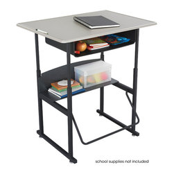 """Safco - AlphaBetter Desk, 36 x 24 Standard Top with Book Box - With the AlphaBetter Desk students have a new desire to learn. Designed for students in grades 3-12, the AlphaBetter Desk easily adjusts from 26"""" to 42"""" high to allow students the choice to stand or sit while in the classroom. With our exclusive patented Pendulum Footrest Bar students have a new way to sway! The footrest allows students to swing their feet providing extra movement to burn off excess energy. In addition it helps to correct posture. The steel frame with Black powder coat finish is built for long lasting durability. The large MDF top is covered with extremely durable Beige 3D thermoplastic laminate. The steel book box stores books and supplies and a lower shelf provides additional storage space.; Features: Material: Steel (Base), 5/8"""" MDF - Medium Density Fiberboard (Top), 1/4"""" Phenolic (Shelf); Finished Product Weight: 53 lbs.; Assembly Required: Yes; Tools Required: Yes; Limited Lifetime Warranty; Dimensions: 36""""W x 24""""D x 26"""" to 42""""H"""