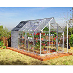 Poly-Tex, Inc. - Grow and Store 6' x 12' Greenhouse and Storage Shed - The Grow and Store greenhouse and storage shed combines two essential components for any home gardener-a greenhouse for your plants and a storage shed for all of your gardening gear! This space-saving design is great for smaller yards or limited gardening space. The 6' x 8' greenhouse features clear-as-glass, virtually unbreakable, SnapGlas polycarbonate side and roof panels. The colored polycarbonate panels of the 6' x 4' storage shed keep the sun out and your tools neatly hidden away. Two structures v one great price!