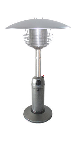 AZ Patio Heaters - Portable Patio Heater - Silver Hammered - AZ Patio Table Top Silver Hammered Propane Patio Heater The HLDS032-C Portable Outdoor Tabletop Silver Heater provides warmth while adding ambience to any outdoor tabletop setting. Lightweight and portable, it can be placed on a patio side table or stores easily when not in use.