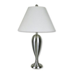 ORE International 6233SN Metal Table Lamp - Satin Nickel - About Ore International, Inc.:Ore International, Inc. creates beautiful accent furniture, lighting, and gifts for the home. Their goal is to be the leading provider of innovative, superior home products worldwide. Ore International is based in Santa Fe Springs, California and has a Customer First attitude. Their products are designed to match modern and classic tastes and fit today's homes. From room dividers to lamps, end tables to entertainment centers, you'll discover quality craftsmanship at a fair price in all Ore International products.