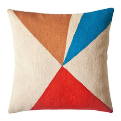 Lucent Refract Pillow - The bright colors and bold geometric shapes on these pillows have been inspired by the science of light. The pillows are hand-embroidered by women artisans in north India.