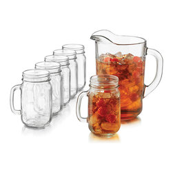 Libbey - Sweet Tea Seven-Piece Set - Serving iced tea or freshly squeezed orange juice is even sweeter with this set. The charming pitcher keeps drinks on display and the mason jar glasses are sure to delight guests.   Includes 60.5-oz. pitcher and six 16.5-oz. glasses Glass Dishwasher-safe Imported