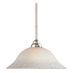 Z-Lite - Z-Lite 1 Light Pendant - This brushed nickel, one light pendant along with its bright, white mottle shade and clean lines will add an element of class to any room.