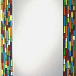 Other Mosaic Mirrors - Custom glass mosaic mirror in a bright and colorful blue, red, orange, yellow, purple and green color scheme.  Materials used include stained glass and glass mosaic tile.  Custom sizes and color schemes available; pricing varies upon size.