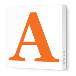 """Avalisa - Letter - Upper Case 'A' Stretched Wall Art, Pumpkin, 12"""" x 12"""" - Spell it out loud. These uppercase letters on stretched canvas would look wonderful in a nursery touting your little one's name, but don't stop there; they could work most anywhere in the home you'd like to add some playful text to the walls. Mix and match colors for a truly fun feel or stick to one color for a more uniform look."""